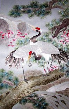 Cranes on Pine Tree, Chinese silk embroidery painting, Suzhou embroidery art, Su Embroidery Studio