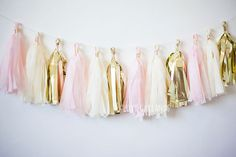 Lets celebrate with this Blush Gold tassel garland!  This tassel garland is great for: weddings bridal showers birthday parties baby showers gender
