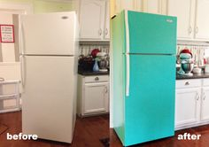 """Appliance paint. Good idea for ugly fridges. Although there's nothing wrong with the """"before"""" on this one."""