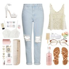 Pale by ollena on Polyvore featuring moda, Topshop, Forever New, Aéropostale, Candela, Jeffrey Campbell, Forever 21, RetroSuperFuture, Benefit and Sephora Collection