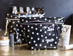 DIY Oilcloth Makeup Bags | Lia Griffith