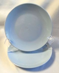 Potters Village Lunch Plates Fine Stoneware Set of 2 Sky Blue 8.5\  & Pyrex Tableware Bowls by Corning Restaurantware Blue Twin Stripe 715 ...