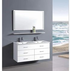 Double Vanity 48 Inches. Belvedere 48 inch Contemporary White Wall Floating Bathroom Double Vanity Milano Modern Cheap Vanities Free standing
