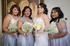 Megan's bridesmaids wore lovely silvery gowns from Johan Wolmarans – each one with a different bodice