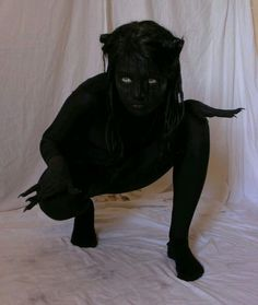 This was my Halloween costume one year (the pic isnt me). But called Demon. This was my Halloween costume one year (the pic isnt me). But called myself a shadow person. Halloween Tags, Coastumes Halloween Effrayants, Creepy Halloween Costumes, Halloween Cosplay, Holidays Halloween, Halloween Outfits, White Contacts Halloween, Halloween Costumes Women Creative, Costume Ideas