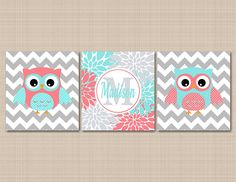 Owl Nursery Décor,Coral Teal Nursery Wall Art,Owl Nursery Wall Art,Coral Aqua Nursery Wall Art,Coral Owl,Teal Owl,Owl Floral Nursery,turquoise Nursery Art-UNFRAMED Set of 3 PRINTS (NOT CANVAS)C212 *** Be sure to check out this awesome product. (This is an affiliate link and I receive a commission for the sales)