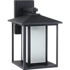 89031BLE-12,Fluorescent Hunnington One Light Large Outdoor Wall Lantern in Black with Seeded Etched Glass,Black