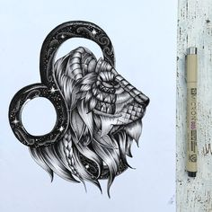 Shoutout to the Leos #zentangle #leo #zodiac #art #lion #tattoo