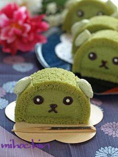 Use Pooki's Mahi Ginger Matcha Matcha Man to make a Mameshiba matcha cake Japanese Cake, Japanese Sweets, Japanese Food, Swiss Roll Cakes, Matcha Cake, Matcha Dessert, Green Tea Recipes, Kawaii Dessert, Cute Desserts