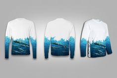 Mens Womens Unisex Solar Performance Custom Graphics Novelty Streetwear Apparel design t-shirt team shirts - Barracuda Wrap Around by SurfmonkeyGear on Etsy