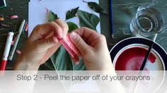 CRAYON LEAF RUBBINGS with a BEET PAINT (or watercolor) wash - by Mr. Otter Art Studio.