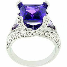 Kate Bissett Silvertone Purple and Clear Cocktail Ring