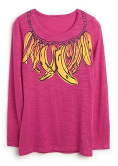 Rose Red Long Sleeve Banana Print Slim T-shirt