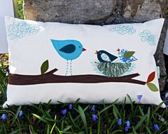"Mommy Bird with her Little Ones/ Organic Cotton Canvas Pillow Cover/ / 12""x20/ Made To Order"