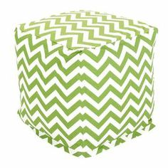"""Eco-friendly indoor/outdoor pouf with a sage and white chevron motif. Made in the USA.   Product: OttomanConstruction Material: Polyester and cotton twillColor: SageFeatures:  Zippered slipcoverOutdoor treated fabricEco-friendlyRecycled polystrene bead fill Dimensions: 17"""" H x 17"""" WCleaning and Care: Slipcover is machine washable. Tumble dry low."""