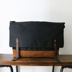 Handcrafted Urban Style Large Leather Denim Canvas by unidostore