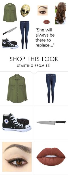 """""""Creepypasta OC: The Replacement (Katie Holmes)"""" by tentacle-sama ❤ liked on Polyvore featuring Equipment, J Brand, Calavera, Converse, Winco and Lime Crime"""