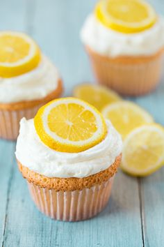 Lemon Angel Food Cupcakes with Lemon Cream Cheese Whipped Cream - these are heavenly! So good with pomegranate too.