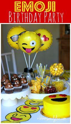 Create a simple Emoji Birthday Party complete with emoji napkins, plates, lanterns, yellow candy, emoji balloons, poop cupcakes and DIY emoji shirts