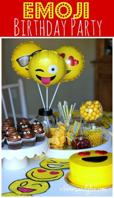 Create A Simple Emoji Birthday Party Complete With Napkins Plates Lanterns Yellow Candy Balloons Poop Cupcakes And DIY Shirts
