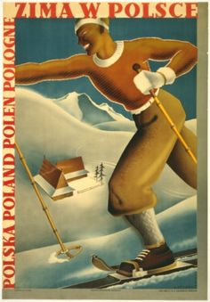 1935 Winter in Poland Vintage Ski Poster