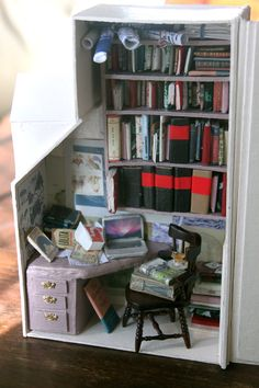 naomese - naomi bardoff's art blog: Miniature Library in a Book-Sized Box - A Room of One's Own