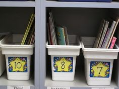 ice cube bins as personal book buckets