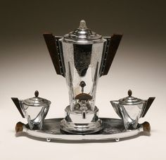 """Machine Age coffee set by Manning Bowman with green catalin handles. Pot 15 1/2"""" high. Pitted surface on pot."""