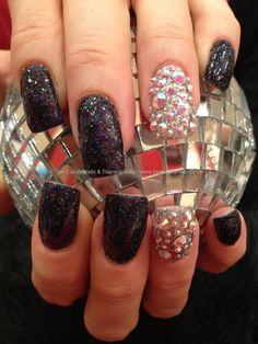 Black glitter with Swarovski crystal ring finger