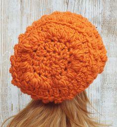 Slouchy Hat in Pumpkin Orange Crochet Slouchy by AlyseCrochet