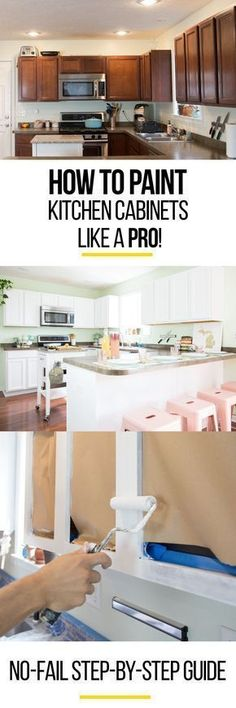 How to paint kitchen cabinets like a pro. Whether you're looking for a white, gray/grey, black, blue, or rustic/antique/distressed finish, this step by step DIY guide will show you how it's done. Hide those ugly dark brown wood cabinets in your home or mobile home. It isn't an easy job and you can't get by without sanding, but you'll be so proud when you're done! This is the right way to do it with a roller and a brush. #mobilehomekitchens