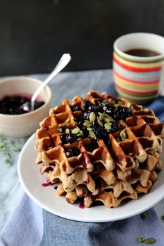These Whole Wheat Waffles are full of flax seeds and pumpkin seeds, a perfect breakfast for a cold morning.