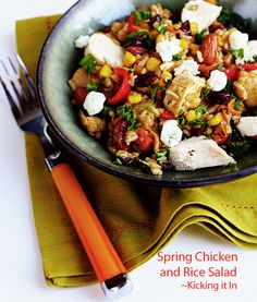 Spring Chicken and Rice Salad by kickingitin.com