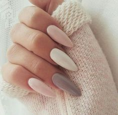 + Ideas for Nude Nails Designs - Gorgeously Chic Hands : soft-pastel-pink-grey-and-white-polish-on-four-long-and-sharp-oval-nails-attached-to-a-hand-gripping-a-knitted-cream-sleeve-nude-nail-polish Pink Grey Nails, Pastel Nails, Grey Acrylic Nails, Soft Nails, Marble Nails, Grey Nail Designs, Art Designs, Cream Nails, Trendy Nail Art