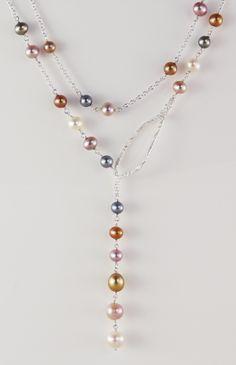Confetti Pearl Lariat - Biba Design Jewelry