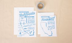 Letterpress State Wedding Invitation Set by Sparkvites on Etsy, $10.00 Can be customized with your state and wedding colors.