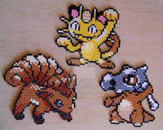 Rokon / Vulpix / Goupix Nyasu / Meowth / Miaouss Karakara / Cubone / Osselait Made with Hama beads. Sprites from Pokémon Gold & Silver.