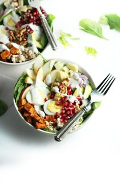 Autumn Cobb Salad with Sweet Potato, Walnuts and Ranch Dressing (healthy fall recipe) by www.droolworthydaily.com