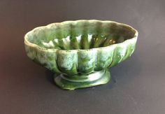 Mid Century Green Teal Drip Ombre Planter by SheWhoPlaysWithGlass