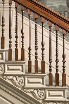 The Portsmouth craftsman, Richard Mills, produced the elaborate stair balusters… Stairs Balusters, Stair Railing, Banisters, Wooden Staircases, Wooden Stairs, Stairways, Wrought Iron Staircase, Railing Design, Staircase Design