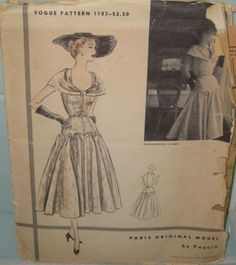GORGEOUS!!!  Vogue Paris Original 1183, Paquin, ca 1952; Sz 16/Bust 34; missing belt piece