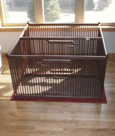 Classy cherry indoor double dog pen, built to keep two small pets (and their individual beds, potty pads, water and food) separated while confined in one space - with removable divider and two gates | www.pupperton.com