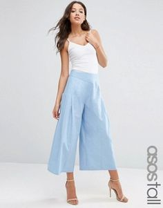 ASOS TALL Pleat Front Woven Culotte Pant
