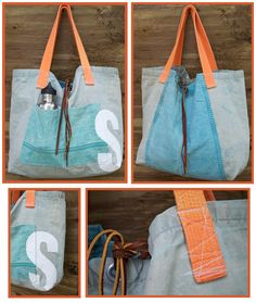 a tote bag made from old canvas tent (fabric : waxed cotton canvas)