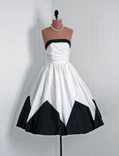 50s black and white dress