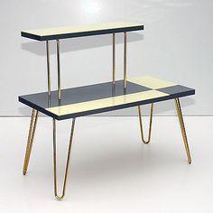 Vintage Plant Stand Table Shelf Hairpin Legs Gray Beige Mid-Century Modern 50sâï