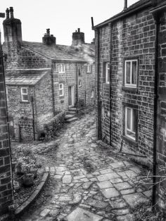 Backstreets of Heptonstall. West Yorkshire. UK. Mill cottages dating from 1870