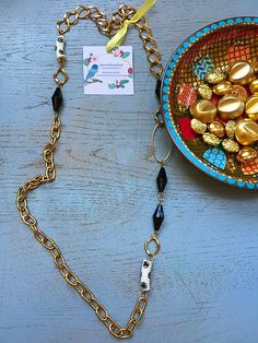 Stylish bohemian long necklace /gold black white by KerenFleaStyle #retrostyle #styleinspiration #styleguide #bohochicjewelry #hippie #styling #bohochicjewelry #accessories #statementnecklace #fashion #frenchsole #fashionista #fashionjewelry #accessories #oneofakind #blogger #bling #handmadejewelry #jewelry #necklaces