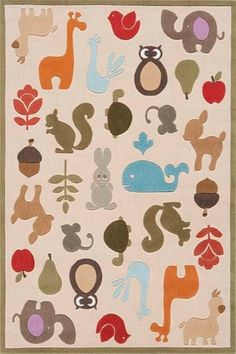 @Rosenberry Rooms is offering 10% OFF your purchase! Share the news and save! Whimsy Animals Rug #rosenberryrooms
