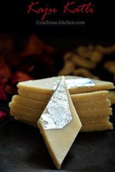 Learn step by step traditional kaju katli with tips and tricks. Make perfect kaju katli at home with few ingredients.Vegan and gluten-free kaju katli recipe Indian Dessert Recipes, Indian Sweets, Sweets Recipes, Cooking Recipes, Indian Recipes, Diwali Recipes, Pakistani Recipes, Burfi Recipe, Jamun Recipe
